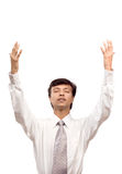 Businessman praying for help Stock Photos