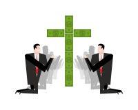 Businessman praying for money. Adoration of dollars. Financial i Stock Image