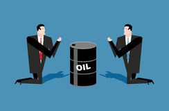 Businessman praying for oil barrels. Prayer oil quotations. Peo. Ple are standing on their knees in front of black gold. Allegory illustration for magazine Stock Photo