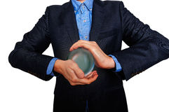 Businessman predict the future. business fortune telling. Royalty Free Stock Images