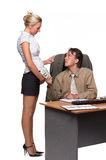Businessman and pregnant secretary Royalty Free Stock Photo