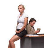 Businessman and pregnant secretary Stock Photography