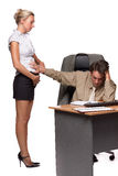 Businessman and pregnant secretary Stock Images