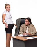 Businessman and pregnant secretary Royalty Free Stock Photography