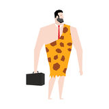 Businessman prehistoric. Ancient boss in skin of giraffe. Neanderthal ina tie. Cro-Magnon to case. Homo sapiens business man. paleanthropic with suitcase Royalty Free Stock Image