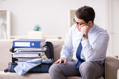 The businessman preparing for the business trip Royalty Free Stock Photography