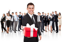 Businessman present Royalty Free Stock Image