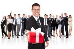 Businessman present royalty free stock image