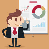 Businessman present. Descending business  illustration Royalty Free Stock Image
