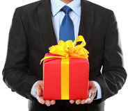 Businessman present gift box Royalty Free Stock Photo
