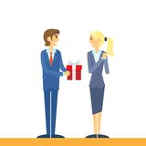 Businessman present gift box business woman flat Stock Photo