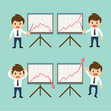 Businessman present growing and present descending vector illust. Ration Stock Photography