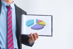 Businessman present new plan financial graph data royalty free stock photo