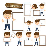 Businessman present whiteboard character set vector.  Stock Photography