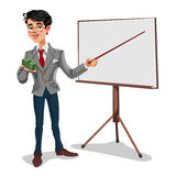 Businessman in a presentation. 3d businessman in presentation. The manager makes the report Stock Images