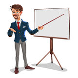 Businessman in a presentation. 3d businessman in a presentation. The manager makes the report Royalty Free Stock Images