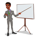 Businessman in a presentation. 3d businessman in presentation. The manager makes the report Royalty Free Stock Image