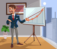 Businessman in a presentation. 3d businessman in a presentation. The manager makes the report Royalty Free Stock Photography