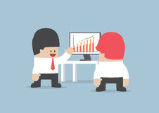 Businessman presentation growth chart on monitor Royalty Free Stock Images