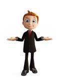Businessman with presentation pose. 3d illustration of businessman with presentation pose Royalty Free Stock Photos