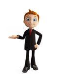 Businessman with presentation pose. 3d illustration of businessman with presentation pose Stock Photos