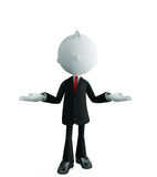 Businessman with presentation pose. 3d illustration of white businessman with presentation pose Royalty Free Stock Images