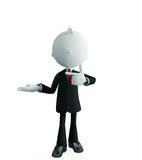 Businessman with presentation pose. 3d illustration of white businessman with presentation pose Stock Photos