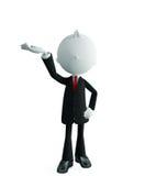 Businessman with presentation pose. 3d illustration of white businessman with presentation pose Stock Images