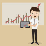 Businessman presentation. Businessman proudly present growing business statistics by digital tablet. Business concept. Vector Stock Photography