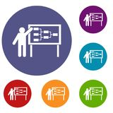 Businessman and presentation screen icons set. Businessman and presentation screen with scheme icons set in flat circle reb, blue and green color for web Stock Images