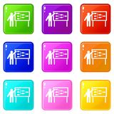 Businessman and presentation screen set 9. Businessman and presentation screen with scheme icons of 9 color set isolated vector illustration Royalty Free Stock Image