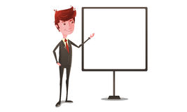 Businessman on presentation with whiteboard Stock Photo