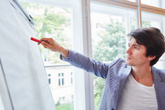 Businessman at presentation with whiteboard Royalty Free Stock Photo