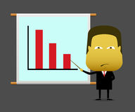 Businessman presented the result graph down with upset Royalty Free Stock Photography