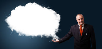 Businessman presenting abstract cloud copy space Stock Photos