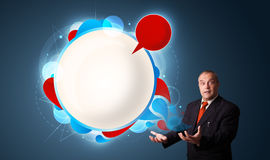 Businessman presenting abstract modern copy space Royalty Free Stock Images