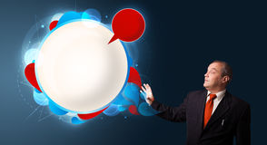 Businessman presenting abstract modern copy space Royalty Free Stock Photography