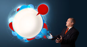 Businessman presenting abstract modern copy space Royalty Free Stock Photo