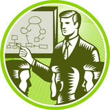 Businessman Presenting Boardroom Woodcut. Illustration of a male presenter office worker businessman talking presenting making presentation to boardroom with Royalty Free Stock Images