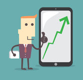Businessman Presenting Business Growth Chart by tablet Stock Images