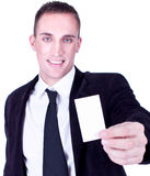 Businessman presenting card Stock Image