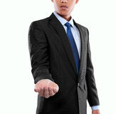 Businessman presenting copyspace Stock Images