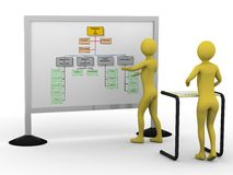 Businessman presenting diagramm. High resolution 3D render Royalty Free Stock Photo