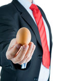 Businessman presenting egg in hand Stock Image