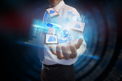 Businessman presenting file transfer interface Stock Photos
