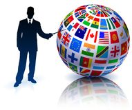 Businessman Presenting Flags Globe Stock Photos