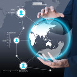 Businessman presenting global network media concept Royalty Free Stock Images