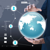 Businessman presenting global network media concept Stock Images