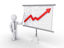 Businessman presenting growing graph. Businessman is showing a board with a 3d graphic chart on it Royalty Free Stock Photos