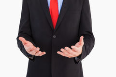 Businessman presenting with his hands Stock Images